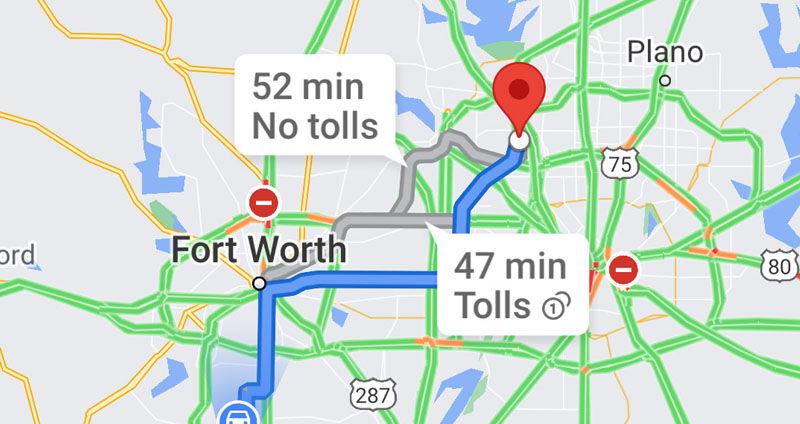 Google Maps show tolls